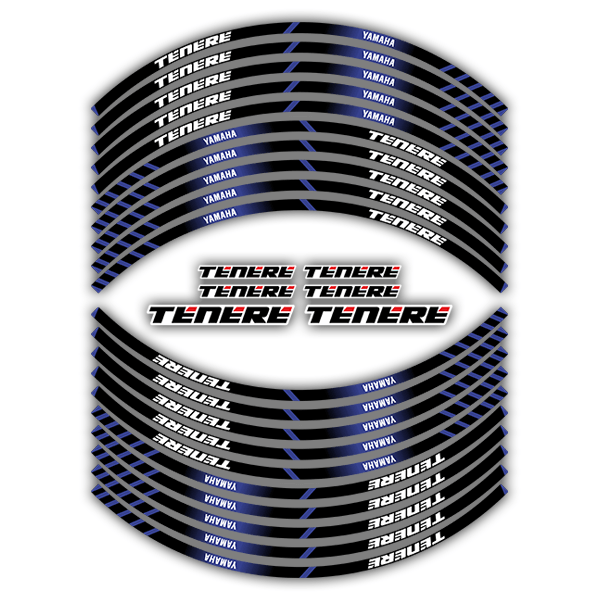 Car & Motorbike Stickers: Kit rim stripes sticker Yamaha Tenere 0