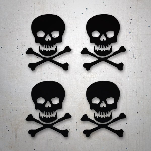 Car & Motorbike Stickers: 4 skulls set