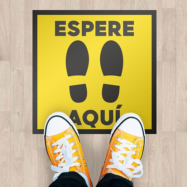 Car & Motorbike Stickers: Floor Sticker - Wait Here - Spanish