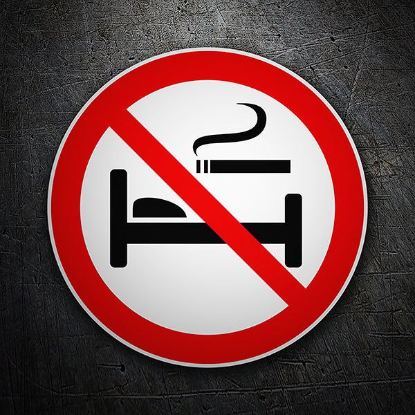 Car & Motorbike Stickers: No smoking in bed