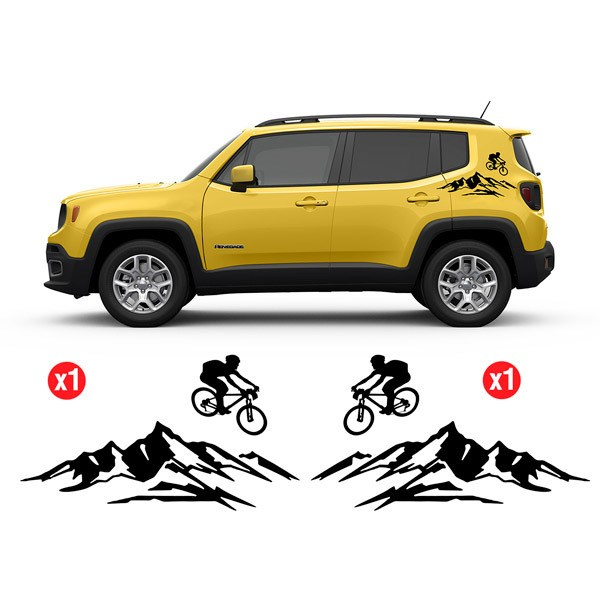 Car & Motorbike Stickers: Set 2X Renegade Bicycle Jumping Side Bands