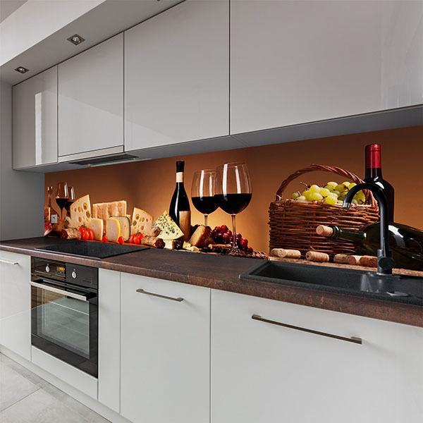 Wall Murals: Still life wine, cheese and sausages