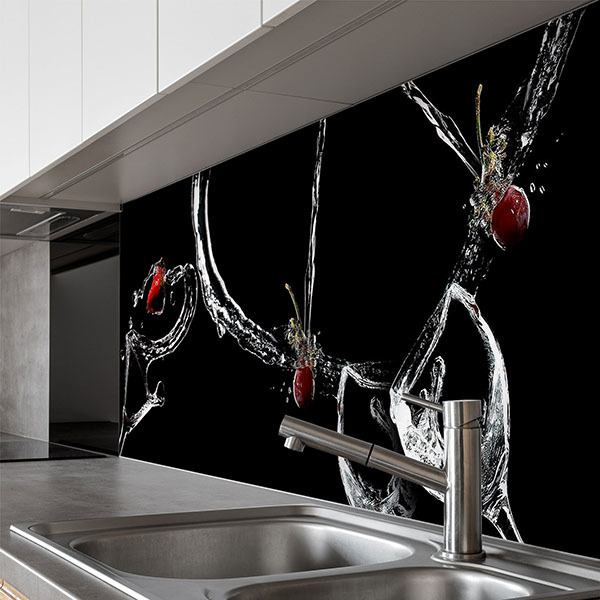 Wall Murals: Composition of glasses, water jets and red fruits