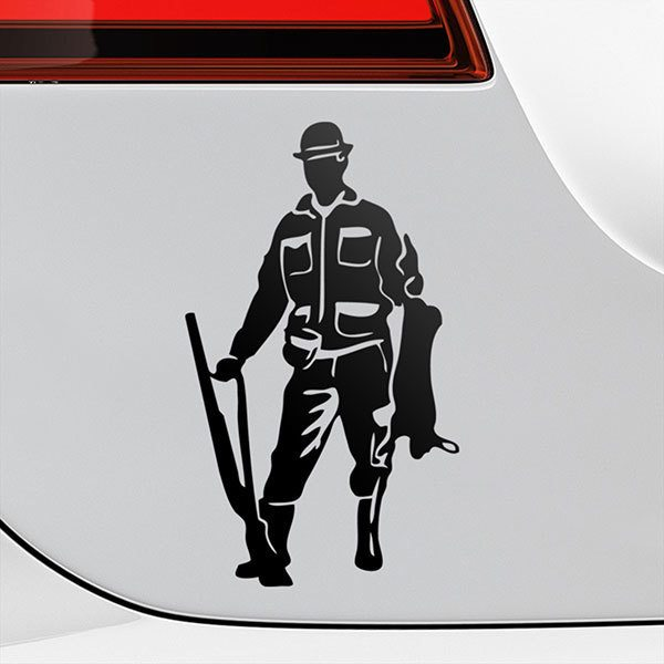 Car & Motorbike Stickers: Hunter holding a rabbit