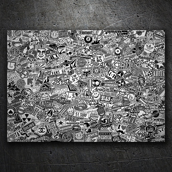Car & Motorbike Stickers: Stickerbomb XL black and white