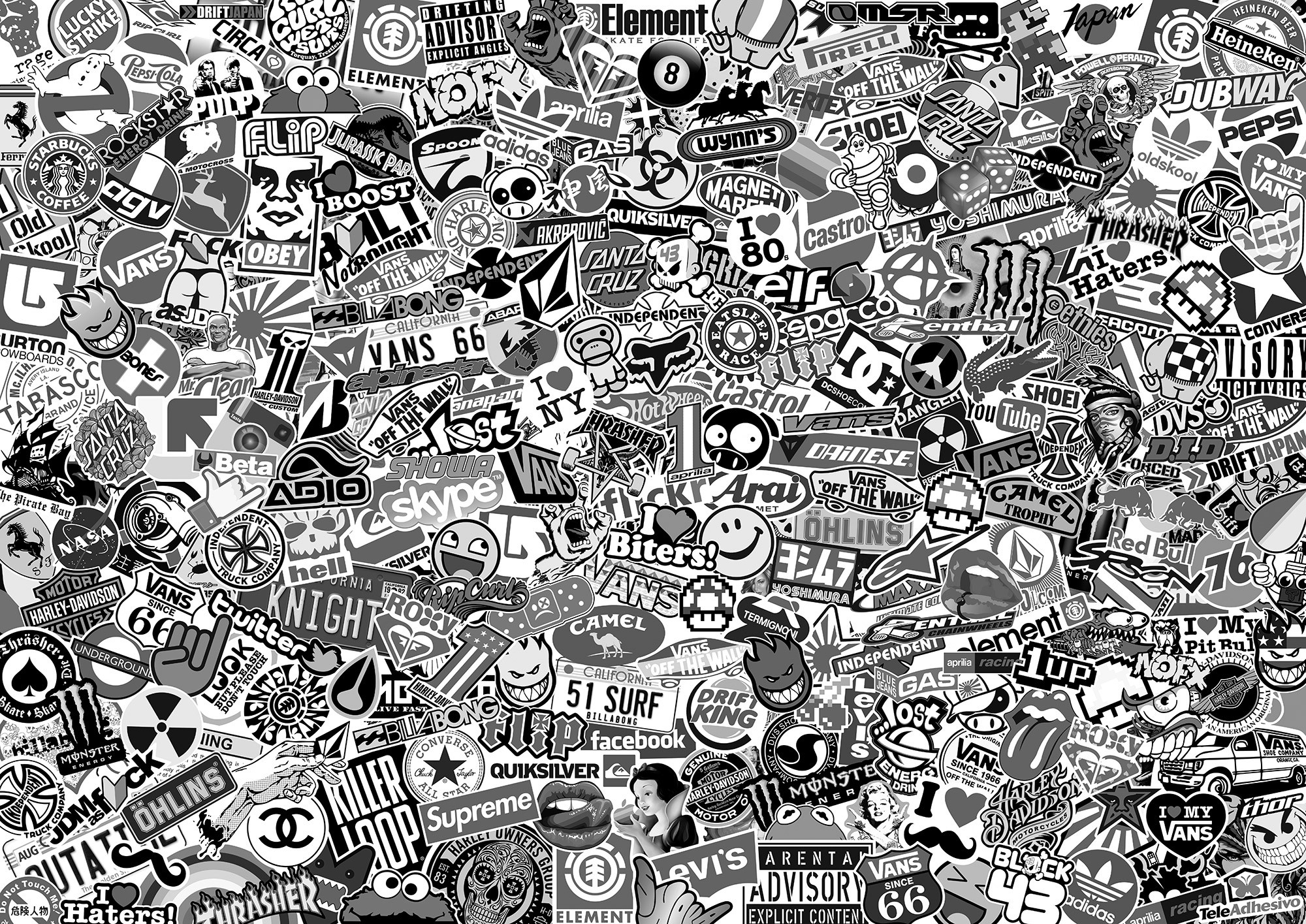 The Gallery For Gt Sticker Bomb Wallpaper Hd Black And White