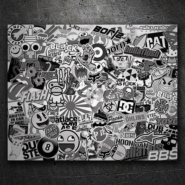 Car motorbike stickers stickerbomb black and white