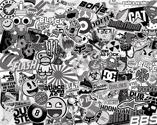 Car stickers honda - Stickerbomb Black And White