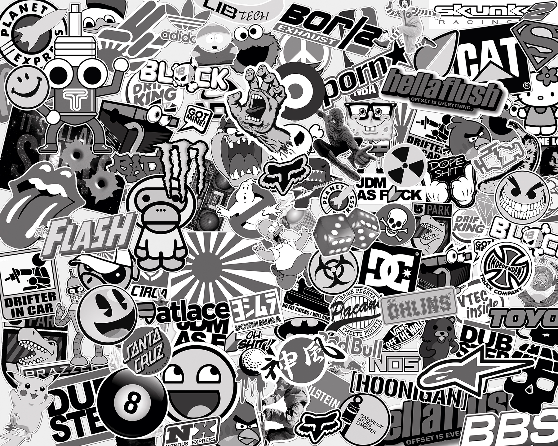 Stickerbomb black and white - Stickers muraux noir et blanc ...