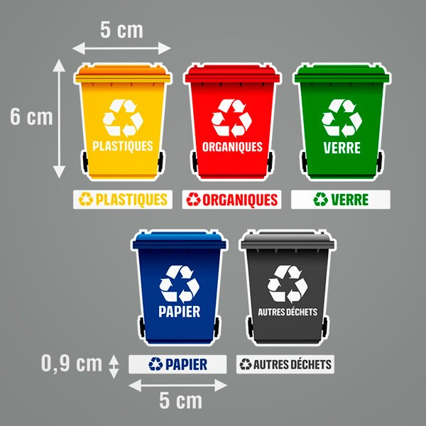 Car & Motorbike Stickers: Set 12X Stickers Recycling in French