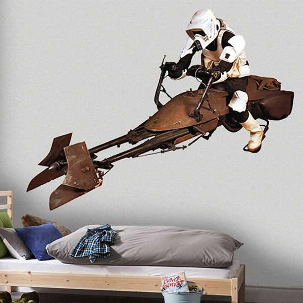 Wall Stickers: Scout trooper on speeder bike