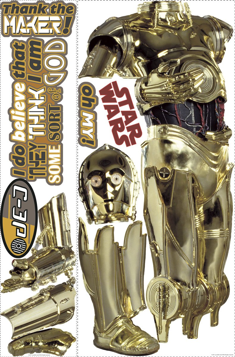 life size c3po wall stickers star wars wall stickers