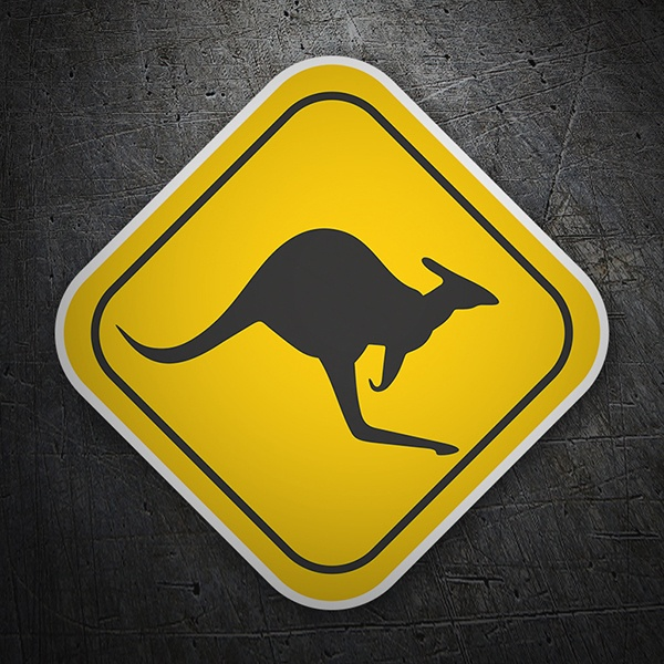 Wall Stickers: Warning Sign Kangaroos sticker