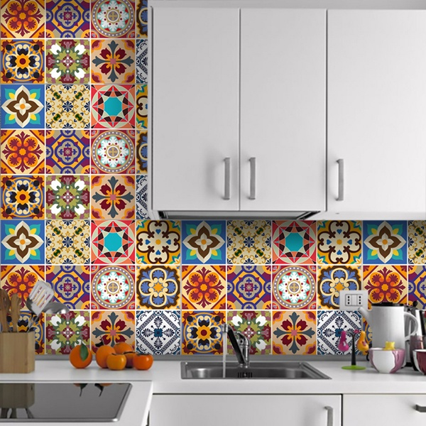 Wall Stickers: Kit 48 Tile stickers Talavera