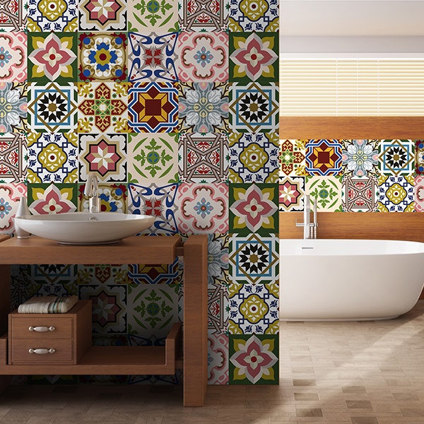 Wall Stickers: Kit 48 bathroom tile Classics