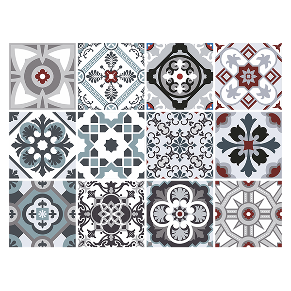 Wall Stickers: Kit 48 Tile stickers traditional