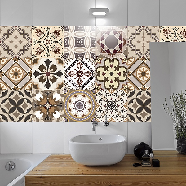 Wall Stickers: Kit 48 Tile stickers sepia-toned