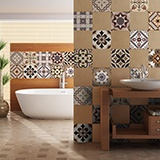 Wall Stickers: Kit 48 Tile stickers sepia-toned 3