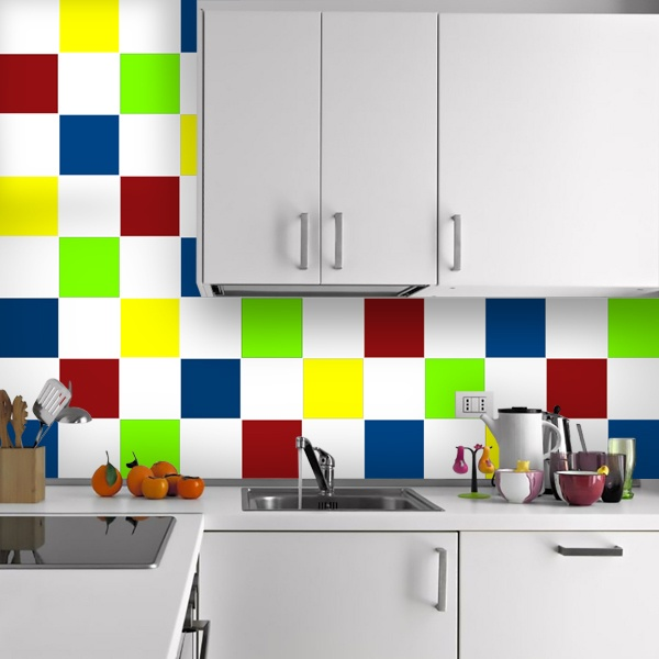 Wall Stickers: Kit 48 kitchen tile chequered