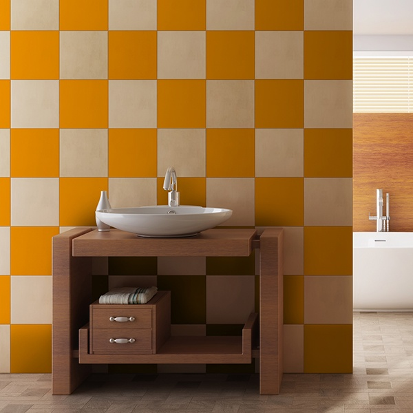 Wall Stickers: Kit 48 Tile stickers chequered