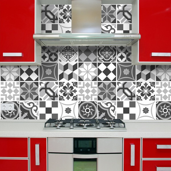 Wall Stickers: Kit 48 Tile black and white