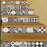 Wall Stickers: Kit 48 wall Tile stickers black and white 3