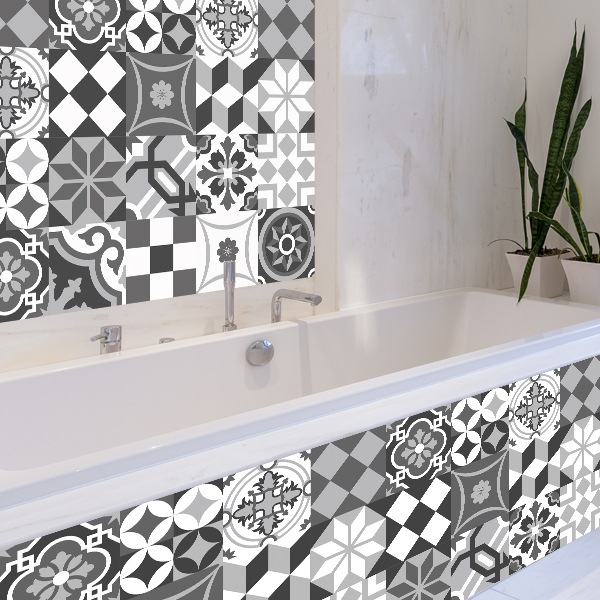 Wall Stickers: Kit 48 wall Tile stickers black and white