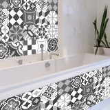 Wall Stickers: Kit 48 wall Tile stickers black and white 4