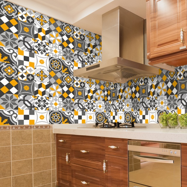 Wall Stickers: Kit 48 tile sheets ornamental