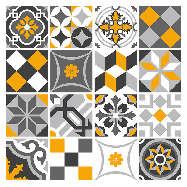 Wall Stickers: Kit 48 wall Tile stickers ornamental