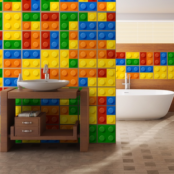 Wall Stickers: Kit 49 bathroom tile Lego