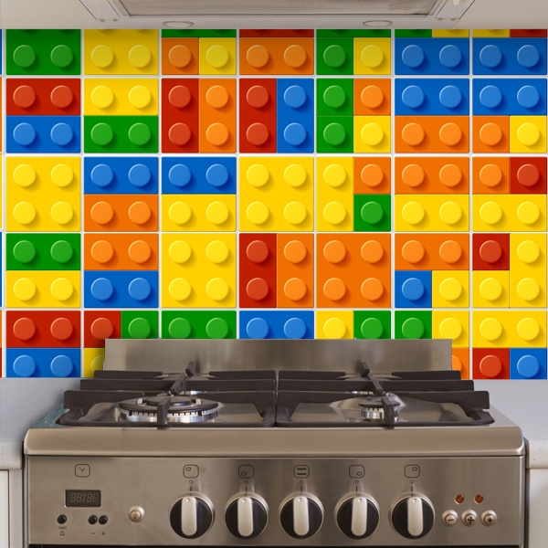 Wall Stickers: Kit 49 wall Tile stickers Lego