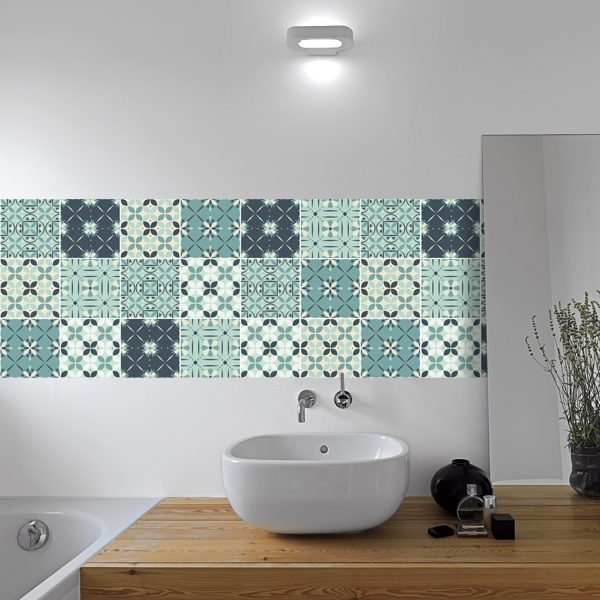 Wall Stickers: Kit 48 Wall Tiles green