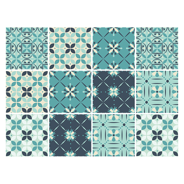 Wall Stickers: Kit 48 wall Tile stickers green mosaic