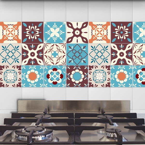 Wall Stickers: Kit 48 peel tile retro