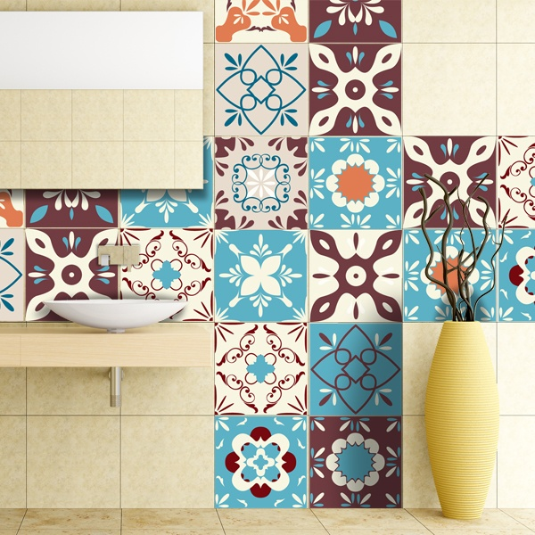 Wall Stickers: Kit 48 wall tile stickers retro