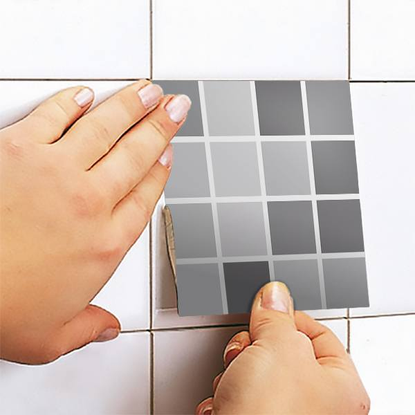 Wall Stickers: Kit 48 wall Tile stickers grey mosaic