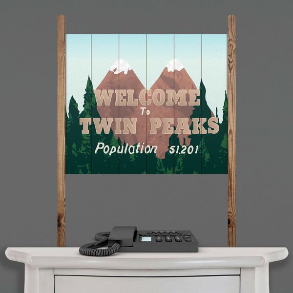 Wall Stickers: Wood sign Welcome Twin Peaks