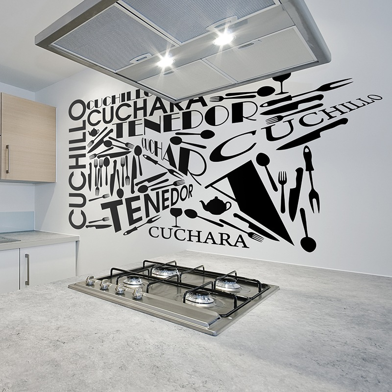 Kitchen Art 32cm: Wall Sticker Kitchen Cutlery