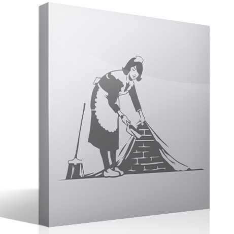 Wall Stickers: Cleaning girl, Bansky