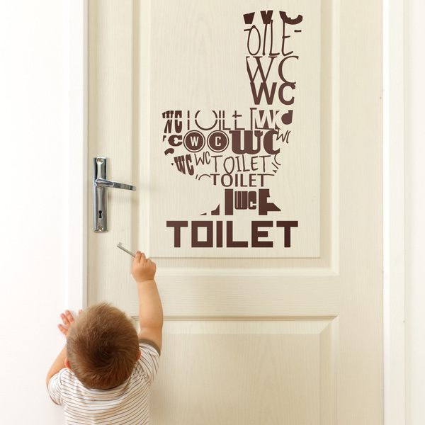 Bathroom Wall Sticker Toilet Languages MuralDecalcom - Toilet wall stickers