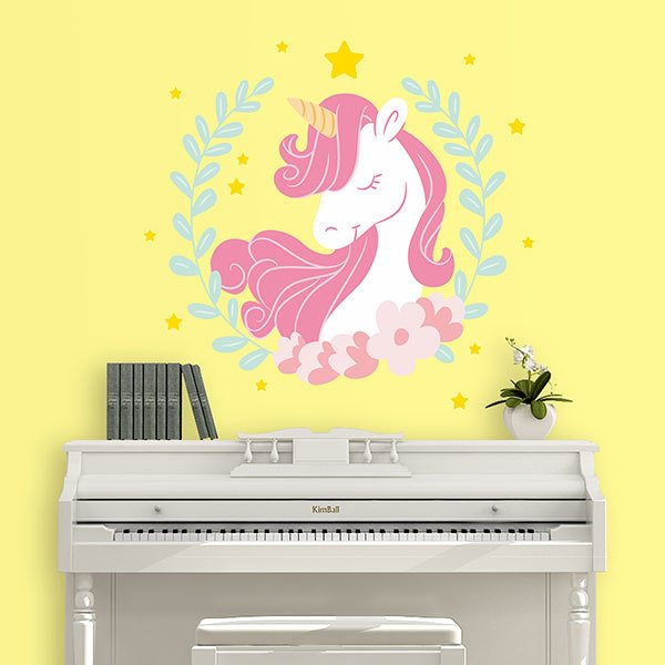 Wall Stickers: Unicorn among laurels