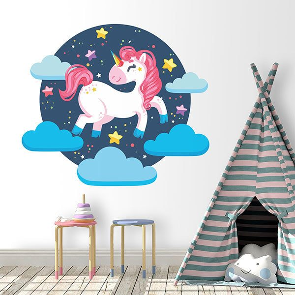 Wall Stickers: Unicorn jumping over the clouds
