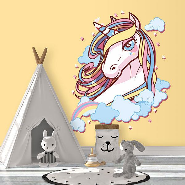 Wall Stickers: Unicorn among clouds