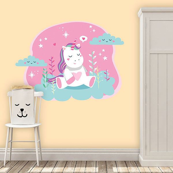 Wall Stickers: Unicorn in the garden cloud