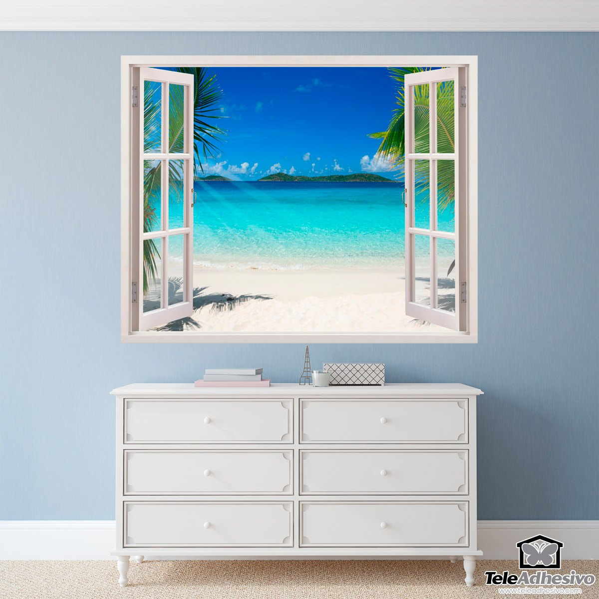 Wall stickers caribbean beach for Stickers para dormitorios