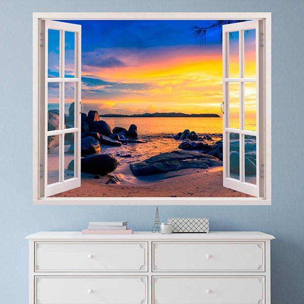 Wall Stickers: Sunset on the rocky beach