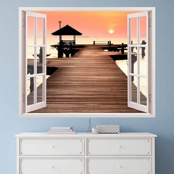 Wall Stickers: Pier and sunset