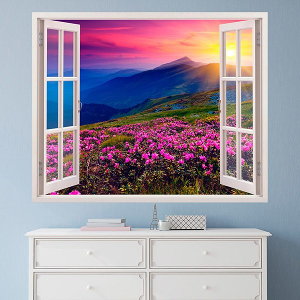 Wall Stickers: Flowers and mountains