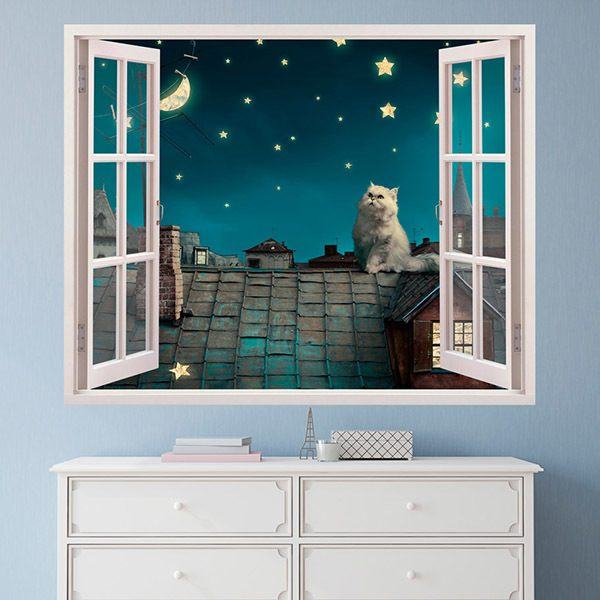 Wall Stickers: A cat on the roof